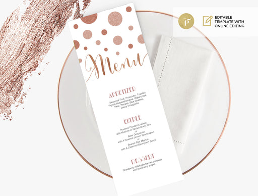 Menu: Rose Gold Confetti