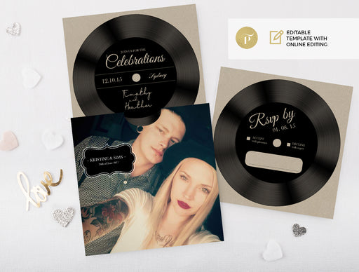 Invitation set: Vinyl hipster