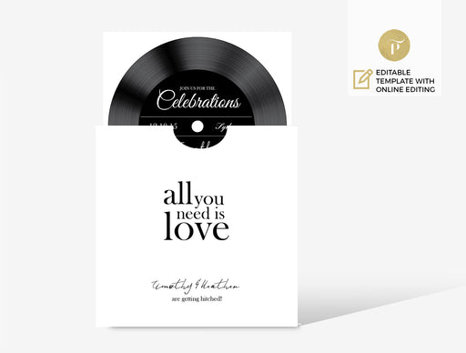 Invitation set: Vinyl All you need is love