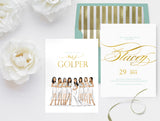 Invitation: Bridal party illustration