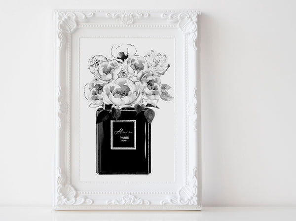 Black Perfume bottle Fashion wall art poster with Peonies, peonies, black and white