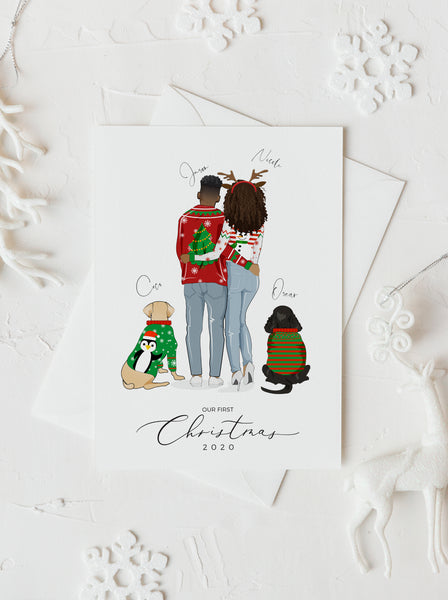 Personalized couple Christmas ugly sweater with their furies illustration