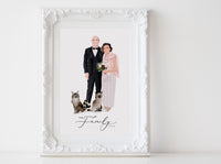 Couple illustration: full body white background