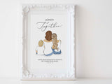 Personalized sitting family illustration | Wall Art Portrait | For grandparents