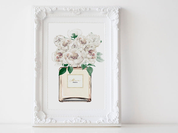 Perfume bottle Fashion wall art poster, White Peonies