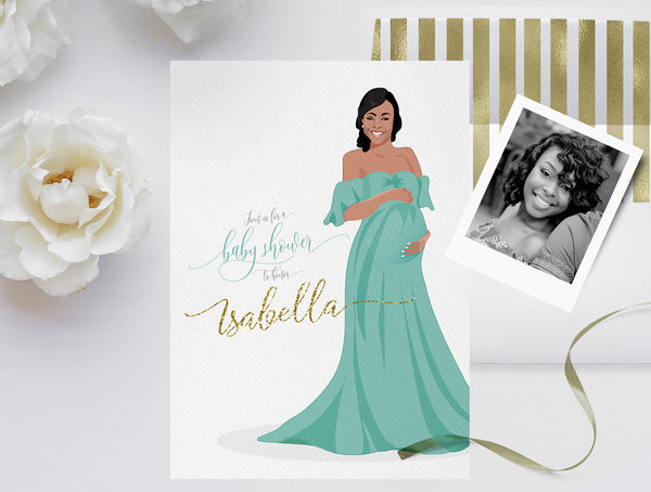 Invitation: Baby Shower custom portrait illustration