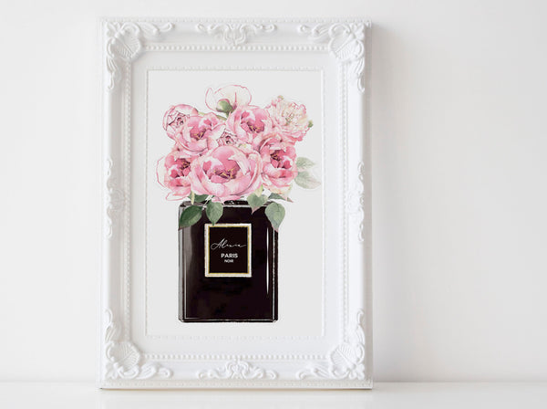 Black Perfume bottle Fashion wall art poster with Peonies, Pink peonies
