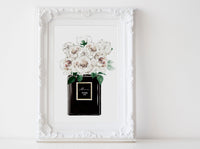 Black Perfume bottle Fashion wall art poster with Peonies, White peonies