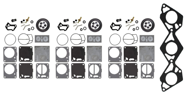 Yamaha Mikuni Triple Carb Rebuild Kit with Base Gasket 65U-13556-00-00 SUV Sv 1200 Gp Xl 1200 NPV Jetboat Exciter Twin Single 135 270