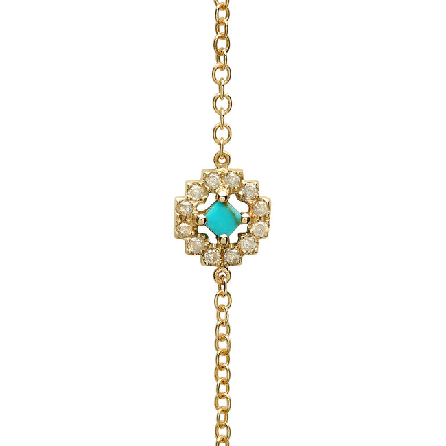 Sun Body Chain Yellow Gold Turquoise