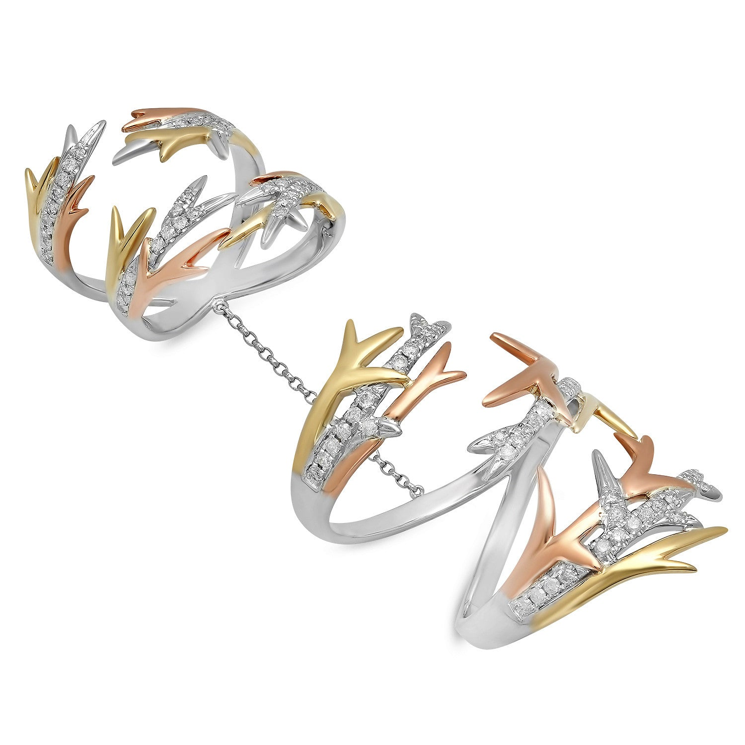 Elodie K 3 Gold Thorn Double Ring