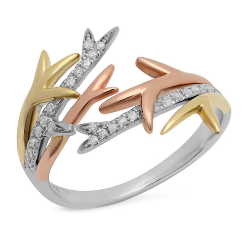Elodie K Three Gold Thorn Ring