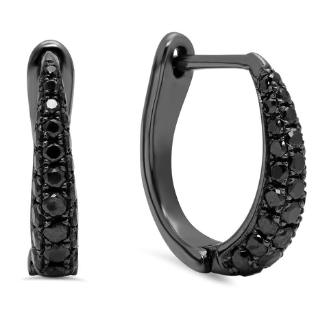 Elodie K Black Diamond Claw Hoop Earrings