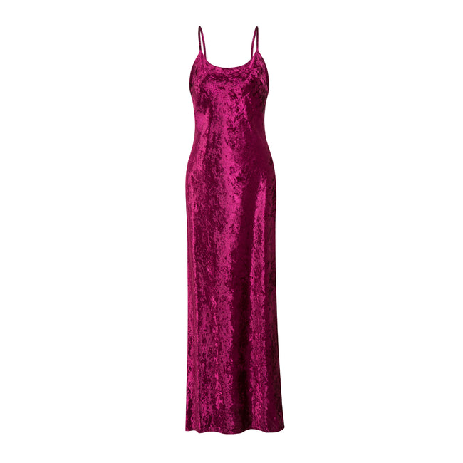 EK Daniel Velvet Dress Red