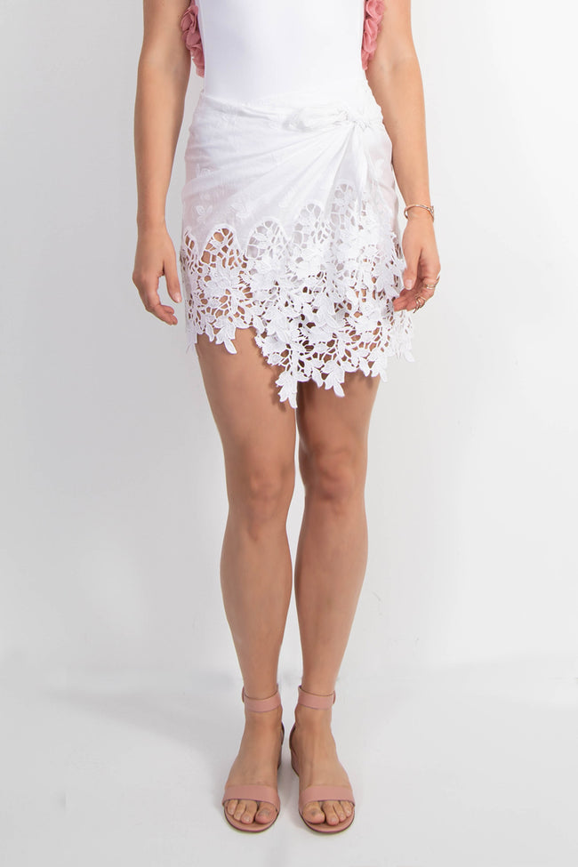 Shaily skirt white embroidery