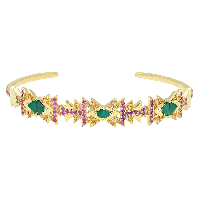 Everlasting Cuff Yellow Gold Malachite