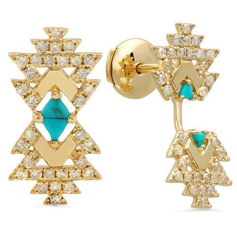 Everlasting Earrings Yellow Gold Turquoise