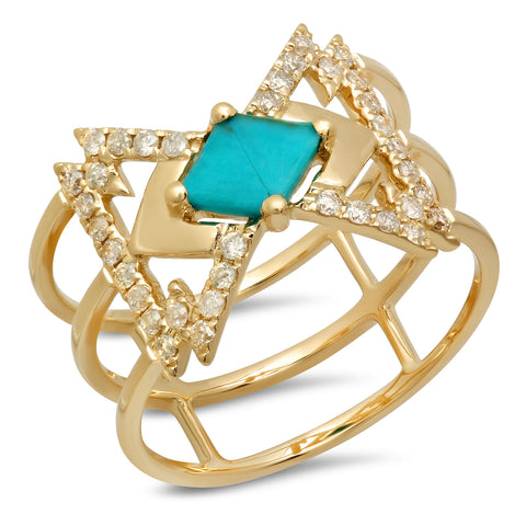 Everlasting Ring Yellow Gold Turquoise