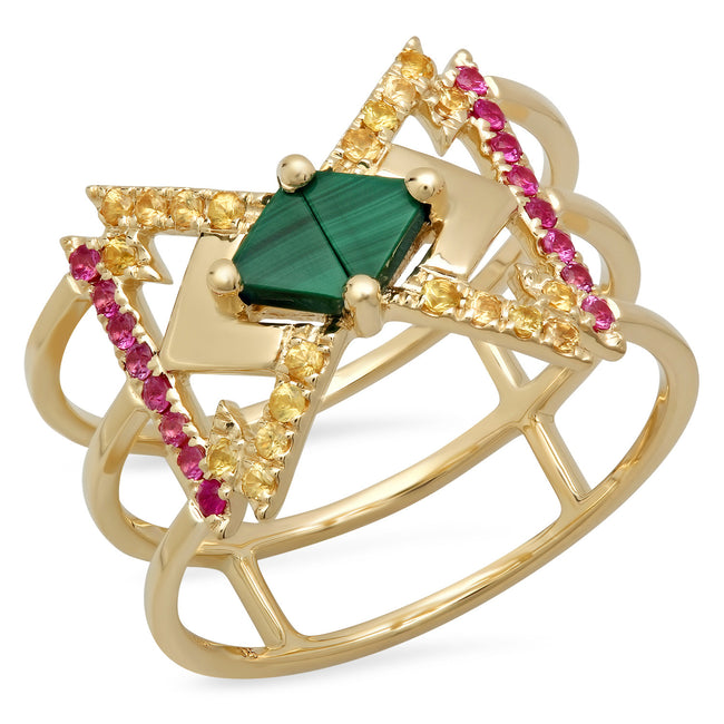 Everlasting Ring Yellow Gold Malachite