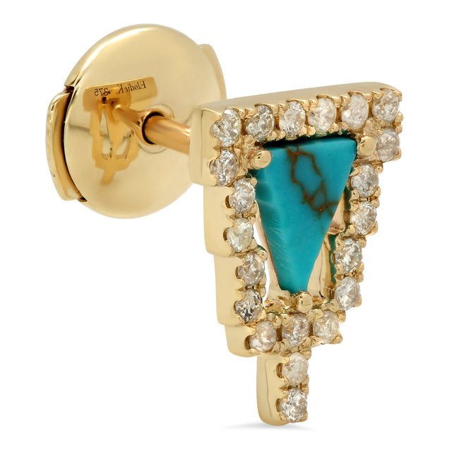 Home Stud Earring Yellow Gold Turquoise