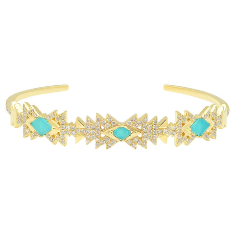 Everlasting Cuff Yellow Gold Turquoise