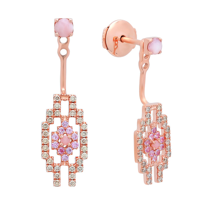 Eyes Small Jacket Earrings Rose Gold