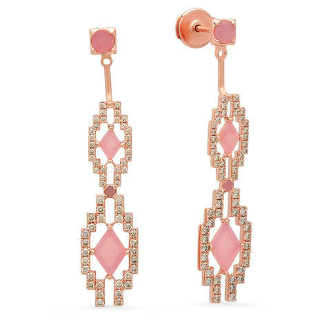 Eyes Large Jacket Earrings Rose Gold