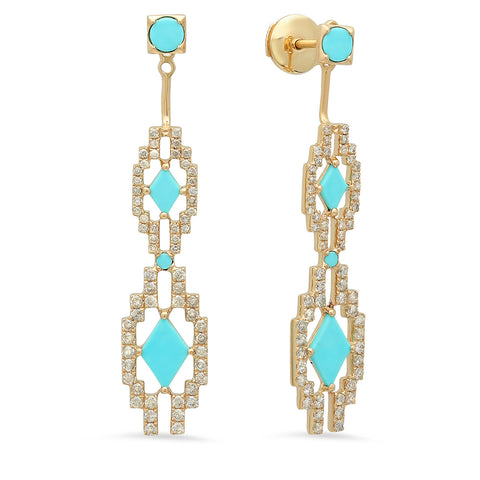 Eyes Large Jacket Earrings Yellow Gold Turquoise