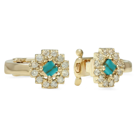 Sun Ear Cuff Yellow Gold Turquoise
