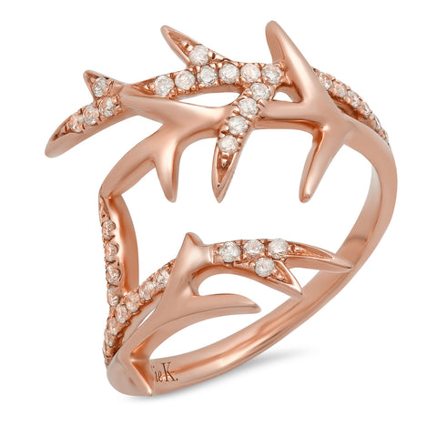 Elodie K Rose Gold Thorns Pinky Ring