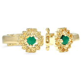 Sun Ear Cuff Yellow Gold Malachite