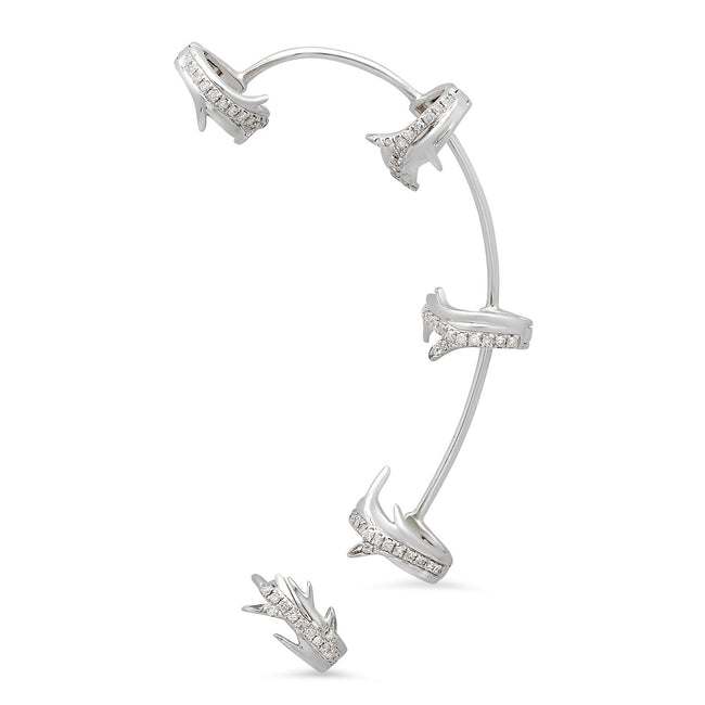 Elodie K White Gold Thorns Ear Cuff