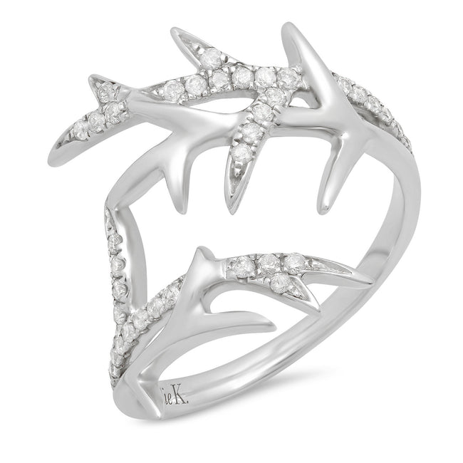 Elodie K White Gold Thorns Pinky Ring