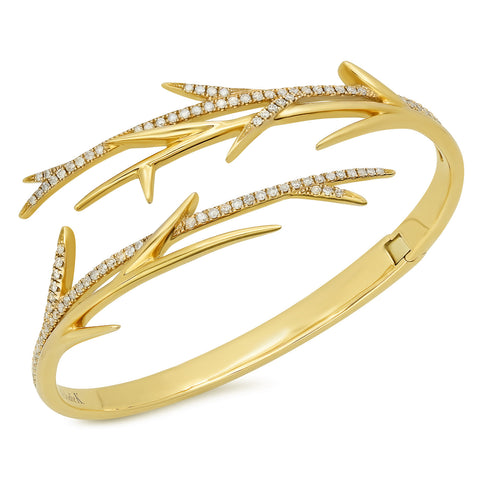 Elodie K Yellow Gold Thorns Cuff