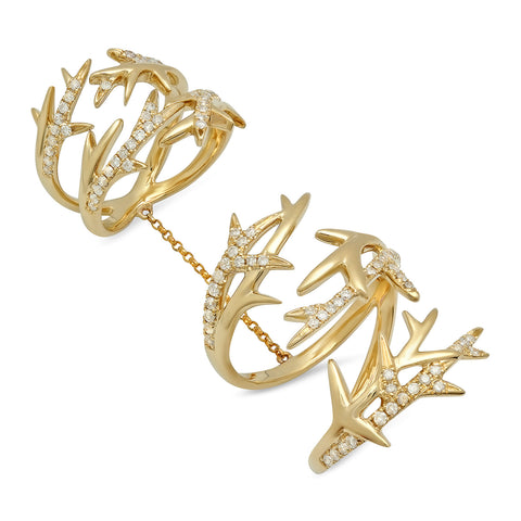 Elodie K Yellow Gold Thorns Double Ring