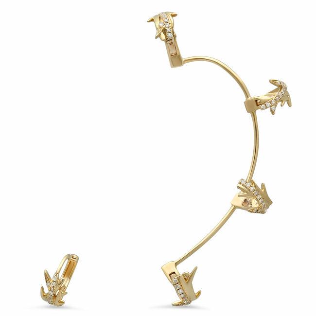 Elodie K Yellow Gold Thorns Ear Cuff