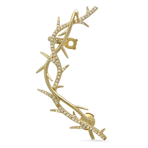 Elodie K Yellow Gold Thorns Pierced Ear Cuff