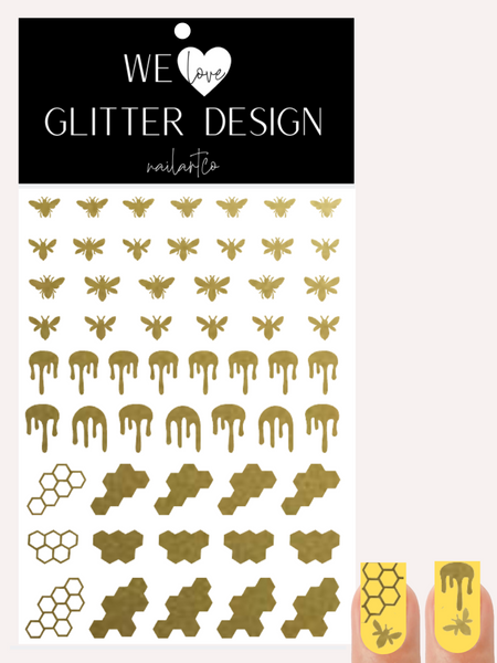 Honey Bee Nail Decal | Gold Shimmer