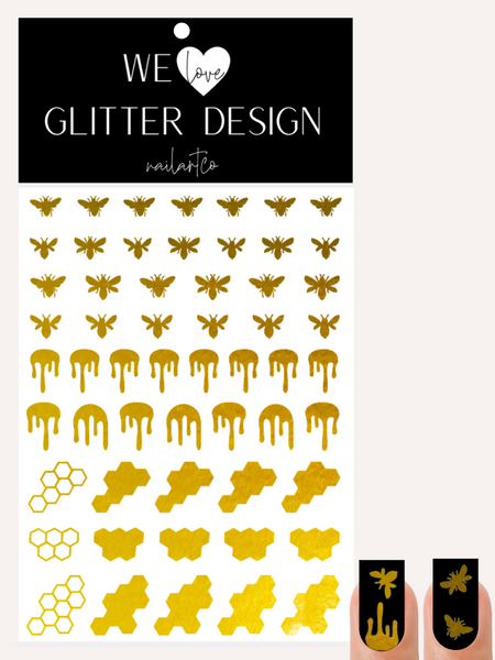 Honey Bee Nail Decal | Polished Metal Yellow