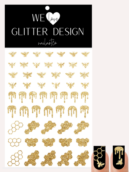 Honey Bee Nail Decal | Sparkle Gold