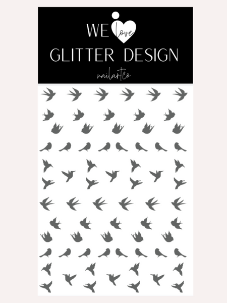 Spring Birds Nail Decal | Grey