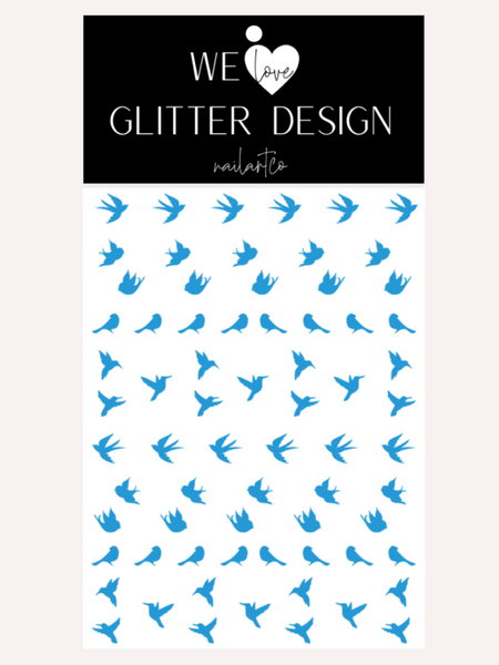 Spring Birds Nail Decal | Light Blue
