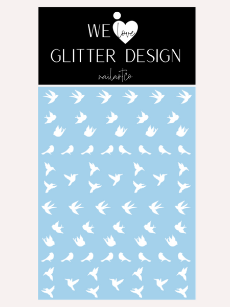 Spring Birds Nail Decal | White