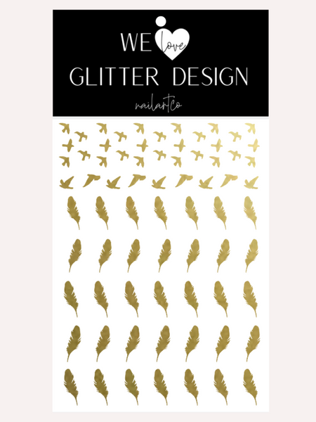 Bird & Feather Nail Decal | Gold Shimmer