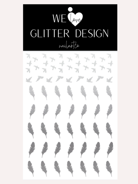 Bird & Feather Nail Decal | Silver Shimmer