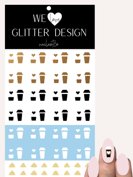 But First, Coffee W/ Cream Nail Decal | Copper Shimmer, Black & White