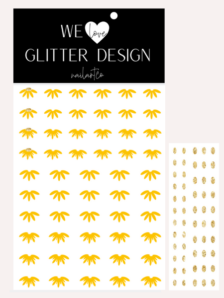 Cuticle Sunflower Nail Decal | Yellow + Sparkle Gold Center