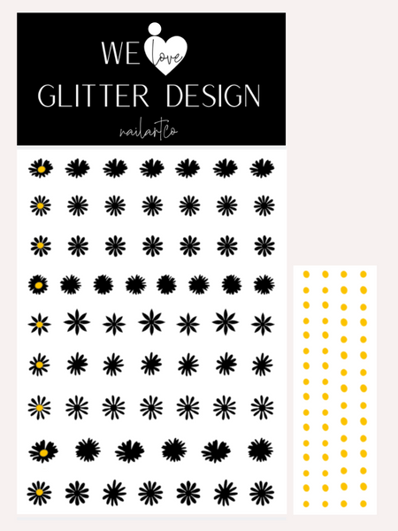 Daisy Flower Nail Decal | Black + Yellow Centers
