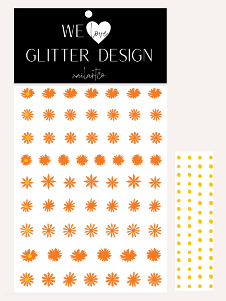 Daisy Flower Nail Decal | Bright Orange + Yellow Centers