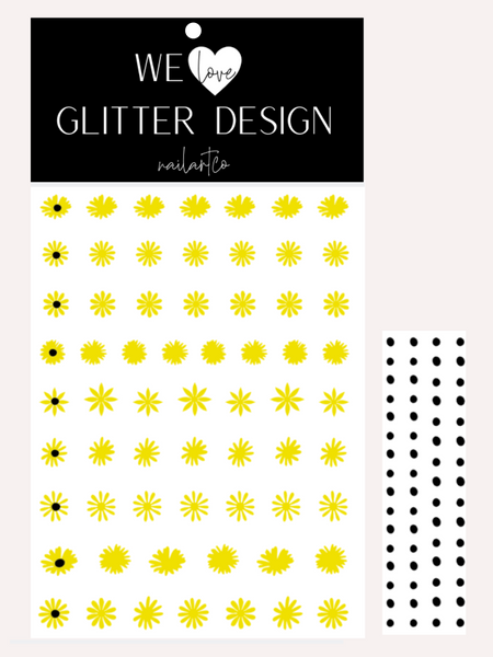 Daisy Flower Nail Decal | Bright Yellow + Black Centers